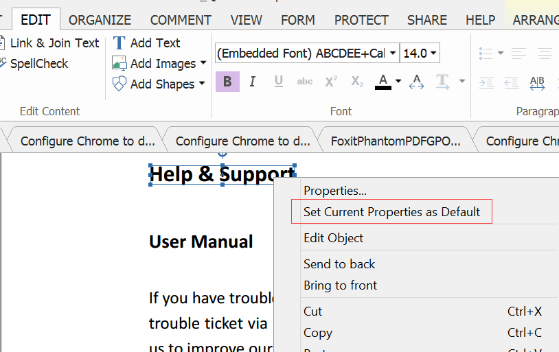 How to set a default font type for adding text
