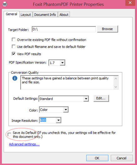 How to apply the current Foxit PDF printer settings as default to