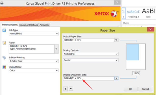 Adjusting the paper size when printing to Xerox printer