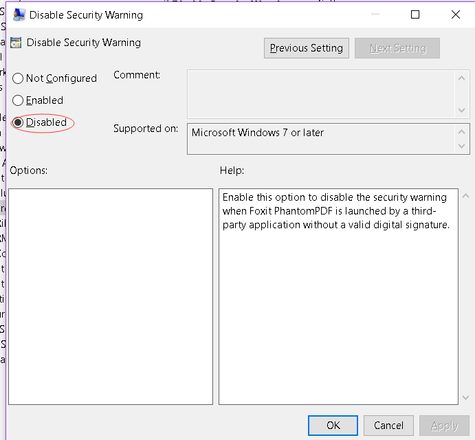 How to disable the security warning when Foxit Reader is launched by