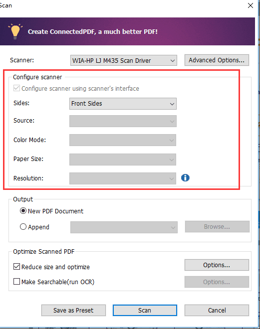 Why the Settings in Scan dialog are grayed out?